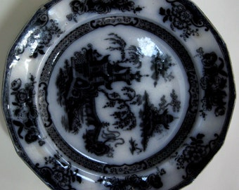 Vintage Ironstone Black and White Plate Pelew Staffordshire Mullberry England Edward Challinor 1800s