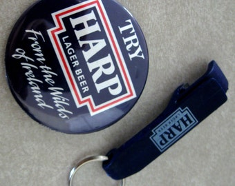 Vintage Beer Advertising Pinback Harp Lager Beer Opener Key Chain Ireland Blue Red