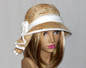 "Kentucky Derby hat, ""Sophia"" beautiful parasisal straw hat, womens summer millinery hat, color natural novelty straw"