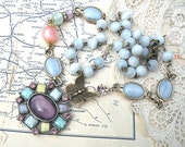 rosary assemblage necklace blue upcycle castoff jewelry MOONGLOW