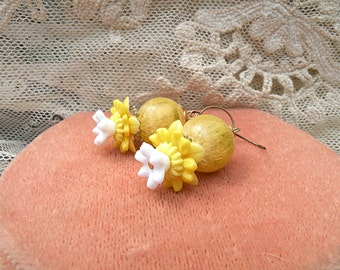 daffodil spring flower earrings yellow dangles assemblage upcycle