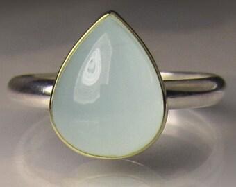 Aquamarine Ring, Natural Milky Aquamarine Ring, 18k Gold and Sterling Aqua Ring