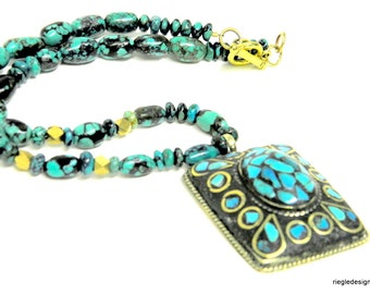 Turquoise necklace, turquoise inlay and turquoise natural stone beads. Tibetan ethnic, boho tribal focal bead