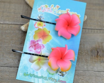 Pink Flower Hair  Pins, 1 inch Flowers,   Floral Hair Pins, Bobby Pins, Plumeria