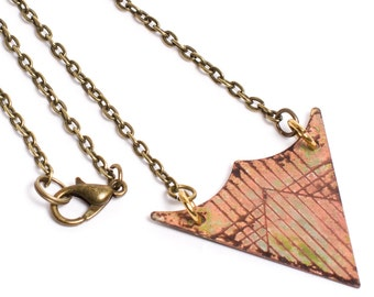 Triangle Patina Necklace - Patina Necklace - Verdigris Necklace - Patina Jewelry - Triangle Necklace - Short Necklace - Pyramid Necklace