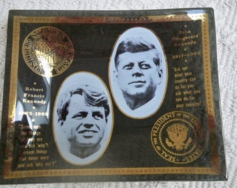 Vintage Collectible Memorabilia Bent Glass Kennedy Brothers Convex Dish 1960's