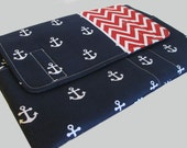 Laptop Sleeve, Tablet Case, Laptop Cover, Tablet Sleeve, Laptop Case, Tablet Cover, up to 13 Inch - Chevron Anchors