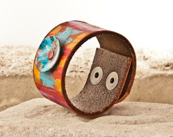 Leather Jewelry Cuffs Bracelets - Bright Colors Colorful Multi Color
