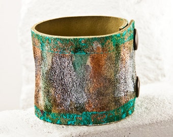 Leather Cuff Bracelets, Leather Jewelry, Women's Leather Bracelets, Leather Wristbands, Painted Leather