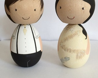 Large Kokeshi Peg Doll Custom Wedding Cake Topper