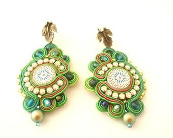 azulejo green earrings , chandelier swarovski earrings , soutache earrings , handmade earrings , ethnic inspiration jewelry , green zelij