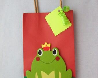 prince frog favor bags, princess party favor bags, birthday favor bags, disney favor bags, frog favor bags