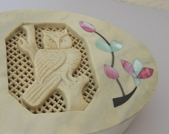 Vintage Carved Soapstone and Shell OWL Trinket Box