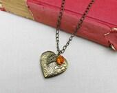 SALE Jane Eyre Locket Necklace Mr Rochester Charlotte Bronte Leaf Charm Botanical Brass Literature Two Cheeky Monkeys Jewellery Jewelry