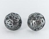 Silver Lava Stud Earrings - Meteorite Studs - By Maker Gal Barash