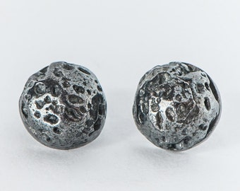 Silver Lava Stud Earrings - Meteorite Studs - By Maker Gal Barash