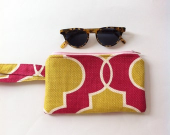 raspberry and mustard wristlet // linen and cotton // last one
