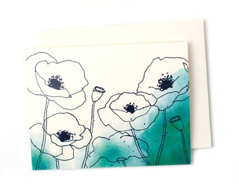 Box Set of Watercolor Poppies Greeting Cards in Peacock, Blue Watercolor Flowers Thank You Notes, Sympathy and Get Well Cards