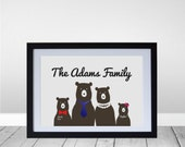 Personalized Bear Family Portrait Wall Art Print