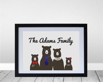 Personalized Bear Family Portrait Wall Art Print
