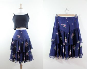 SALE Vintage Navy & Pink Floral Tiered Chiffon Ruffle Skirt