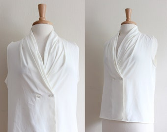 Vintage Ivory Drape Collar Sleeveless Blouse