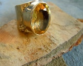 Large Antique Citrine sterling silver ring with markings