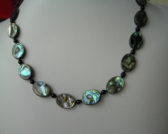 Pretty Abalone  jewelry set - with black onyx beads
