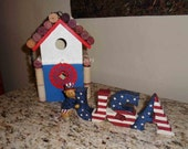 SALE Patriotic bird house - just because gift, house warming, garden gifts