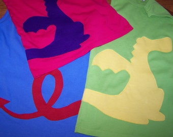 Dragon of Another Color Tshirt  Wrap Around Dragon Applique Custom Choose Colors Youth Child Kids XS 4 5, Small 6 7, Medium 8 10, Large 12