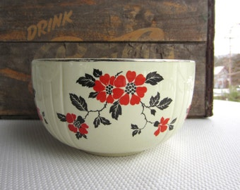 Vintage Red Poppy Mixing Serving Bowl Hall's Superior Quality Kitchenware