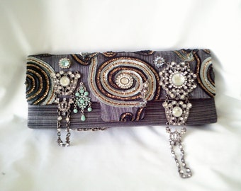 grey handmade bag, couture purse, gray beaded purse, grey steampunk purse, silver beaded clutch,