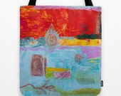 Tote Bag Art, poly poplin fabric, tote bag dog, red turquoise bag