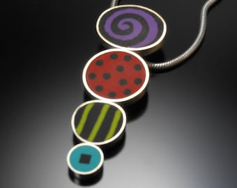 Sterling silver,polymer necklace #40