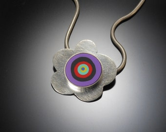 Sterling silver, polymer necklace #33