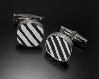 Sterling silver, polymer cuff links #100
