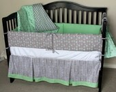 3 Piece Custom Crib Bedding Riley Blake Good Natured Boy or Girl Baby Bedding Fox Design