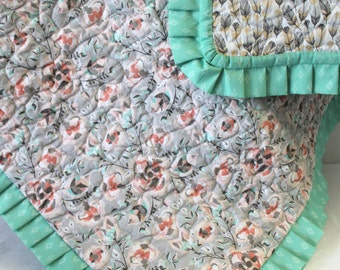 Southwestern Baby Quilt Coyote Collection Baby Shower Gift Gender Neutral Quilt with Ruffle Custom Nursery Set