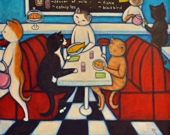 Catland Diner. Original Heidi Shaulis oil painting of Charlie and cats having lunch