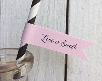 Custom Script Wedding Paper Straws Personalized Flags