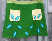 Green Stretchy Jersey A-Line Skirt with Front Pockets