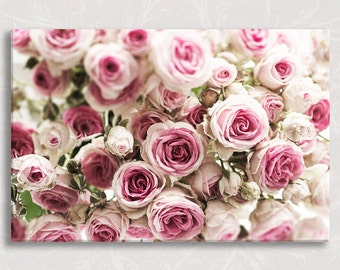 Paris Photograph on Canvas, Paris Roses, Fine Art Photo on Gallery Wrapped Canvas, Travel Home Decor,  Large Wall Art