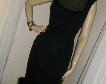 1920s Flapper Style Elinor Gay Original Goth Silk Chiffon Wiggle Dress Marabou Feather Hem Size M