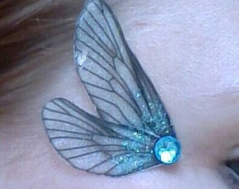 Fairy Wing Eye Decorations Dragonfly silver and blue wings