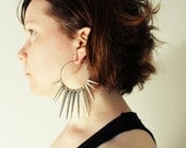 Spikes hoop earrings - Icicles hoop earrings - 50 mm
