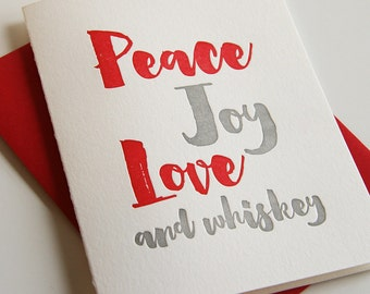 Letterpress Holiday Card - Letterpress Christmas Cards - Peace and Whiskey