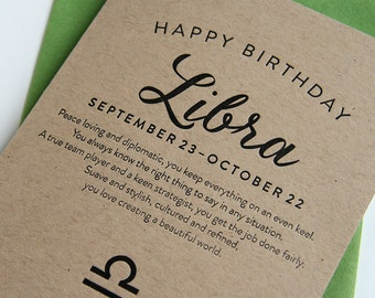 Letterpress Astrology Birthday Card - Libra