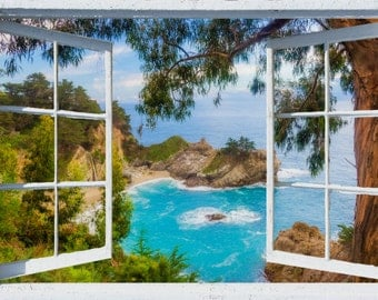 Wall mural window, self adhesive, California open window view-3 sizes available-Big Sur, McWay Falls View- free US shipping