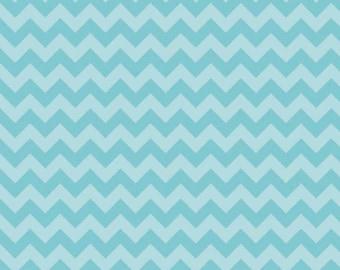 Aqua Tone on Tone Small Chevrons Fabric by Riley Blake Designs - 1 Yard - by the Yard - Zig Zags