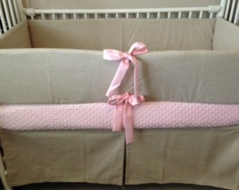 Baby bedding Linen Pink Taupe  Girl Crib set DEPOSIT DOWN PAYMENT OnlY